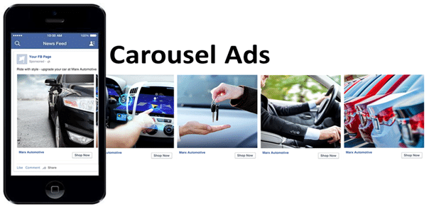Example of a Facebook carousel ad