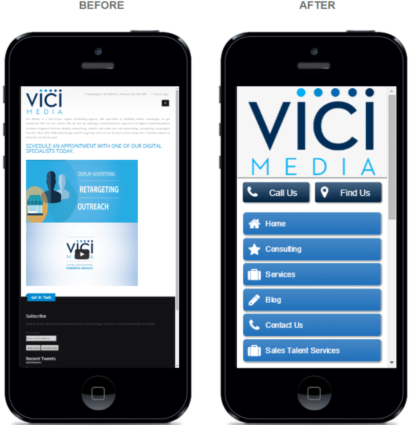 The Before image show's Vici's site before it was optimized into a user-friendly mobile experience.