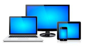 Computer monitor, laptop, tablet pc,  and mobile smartphone with a blue screen. Isolated on a white. 3d image